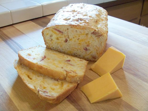 This cheddar cheese bread is made with buttermilk baking mix, crumbled ...