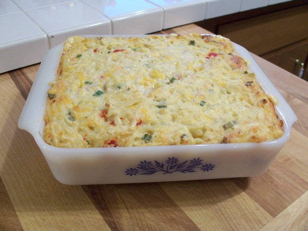 This triple cheese potato casserole is made with three different types ...