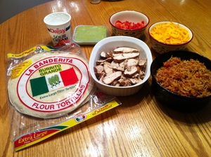 ingredients for grilled chicken burritos