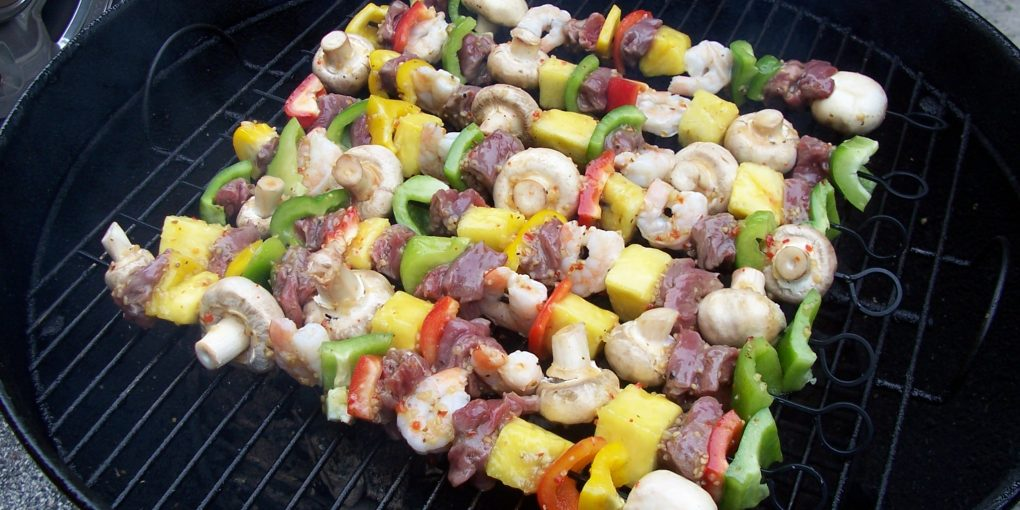 grilled beef and veggie kabobs
