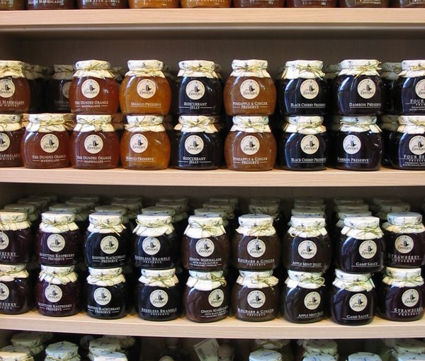 wall of jams and preserves